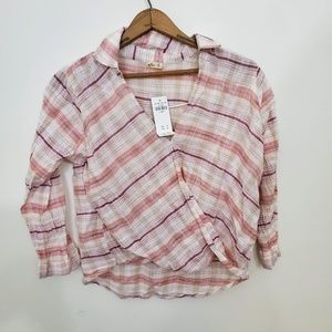 NWT Pink Plaid Hollister Pullover Cropped Shirt